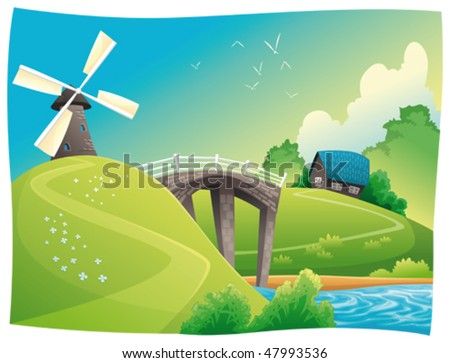 Countryside with windmill. Vector and cartoon landscape. Objects isolated. - stock vector