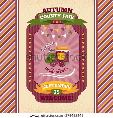 County fair vintage invitation card vector illustration - stock vector