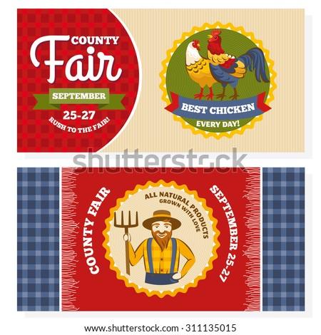 County fair vintage invitation cards vector illustration - stock vector