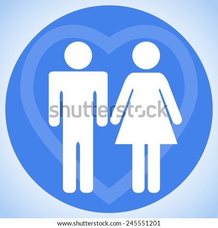 Couple. A man and a woman. Young family. Lovers. Sign. Symbol. Button. - stock vector