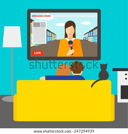 Couple and cat watching news on television sitting on couch in room. Couple, cat on couch. Tv, couch, couple, room interior. News. Cat on couch. Couple on couch. Flat style interior, tv, couch, couple - stock vector