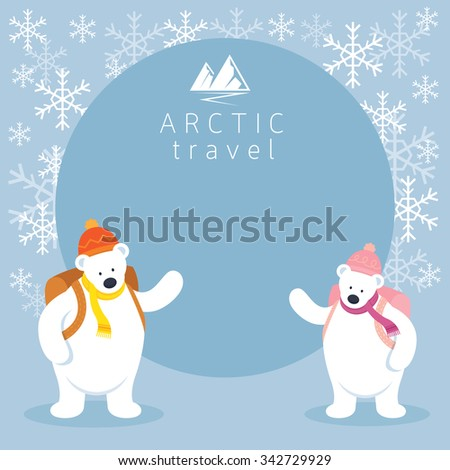 Couple Arctic Polar Bear Backpacker Frame, Background, Winter, Nature Travel and Wildlife - stock vector