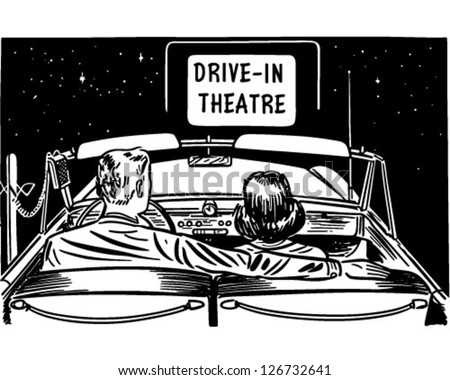 Couple At Drive-In Theatre - Retro Clipart Illustration - stock vector
