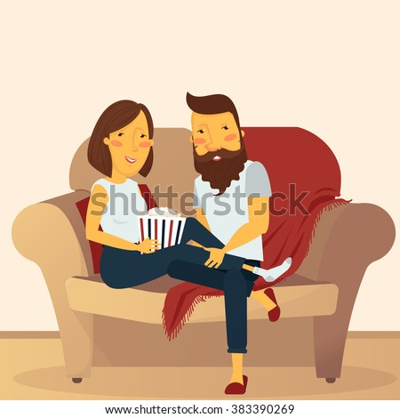 Couple at home sitting on couch and watching movie - stock vector