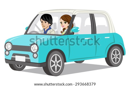 Couple Car Driving, side view - stock vector
