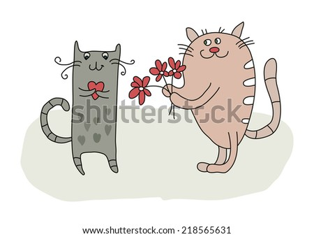 Couple cats falling in love - stock vector