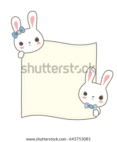 Couple Cute Bunny Hold Card Paper Stock Vector 643753081 - Shutterstock
