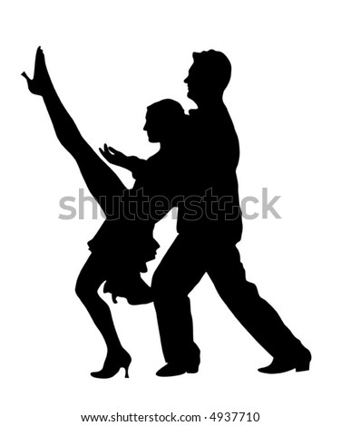 Couple dancers silhouette vector illustration