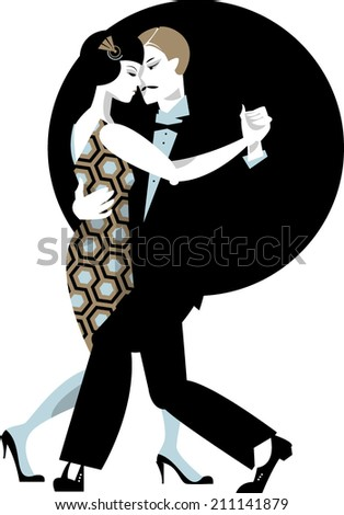 Couple dancing. Art deco. Retro tango. Vector illustration.  - stock vector