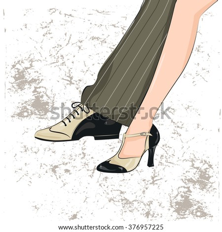 Couple dancing tango. Illustration of man's and female legs. - stock vector