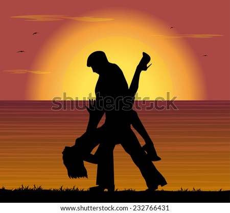 couple dancing the tango at sunset - stock vector