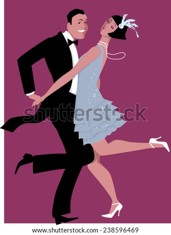 Couple dressed in 1920s fashion dancing charleston, vector illustration, no transparencies  - stock vector