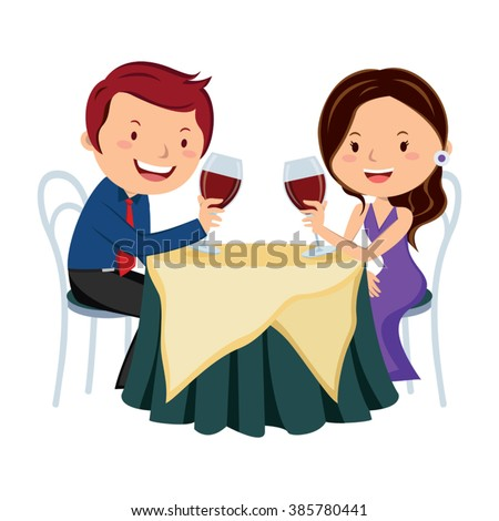 Couple drinking red wine. Vector illustration of young couple drinking red wine at a restaurant. - stock vector