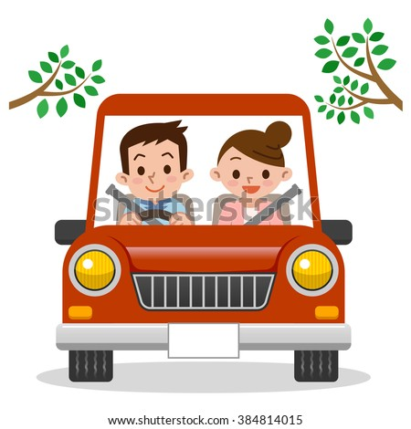 Couple driving in car - stock vector