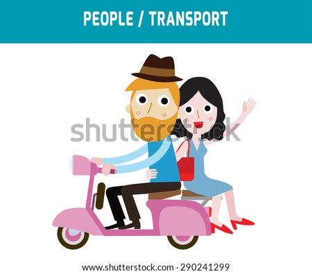 couple driving scooter sweetheart.modern design flat icon for journey.isolated on white background.graphic vector illustration.people concept. - stock vector