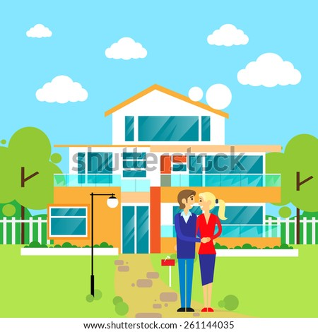 couple embracing in front of new big modern house, dream home vector illustration - stock vector