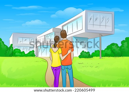 couple embracing in front of new big modern house, outdoor rear view back looking at their dream home vector illustration - stock vector