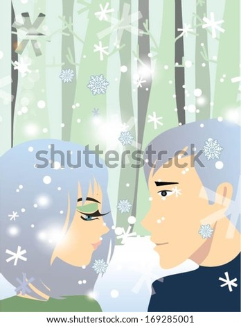 Couple enjoying in winter - stock vector