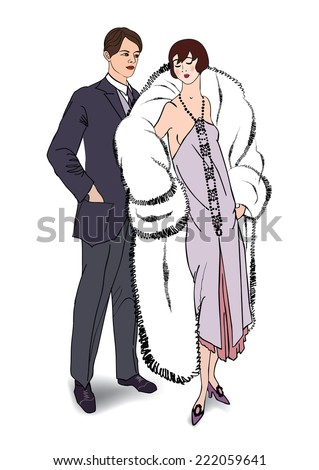 Couple flirting on party. Man and woman in cocktail dress in vintage style 1920's. - stock vector