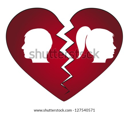 couple getting divorced - stock vector