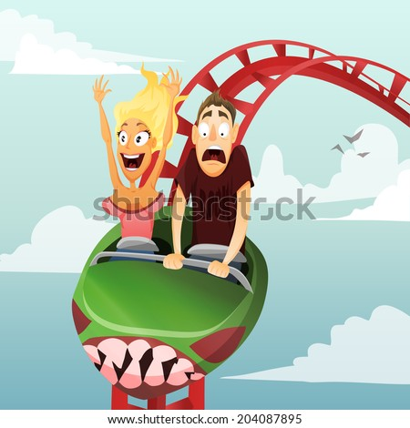 Couple have date in roller-coaster. Girl and boy - stock vector