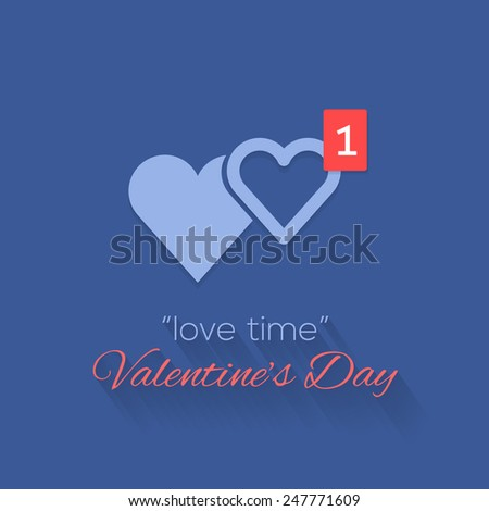 Couple Heart Symbols and Love Time Concept Valentine's Day Background Design, +1 Hearts Symbol - stock vector