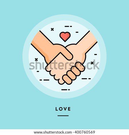 Couple holding hands, flat design thin line banner, usage for e-mail newsletters, web banners, headers, blog posts, print and more - stock vector