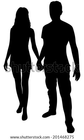 couple holding hands, vector