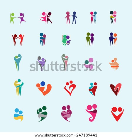 Couple Icons Set - Isolated On Blue Background - Vector Illustration, Graphic Design,  Editable For Your Design - stock vector