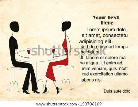 Couple in a restaurant on a vintage background with place for text. The background and objects grouped separately. - stock vector