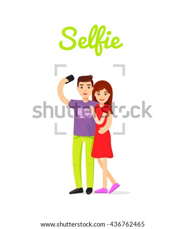 Couple in love doing selfie. Happy couple hugging and make selfie. Beautiful boy and girl happy together, vector illustration. - stock vector