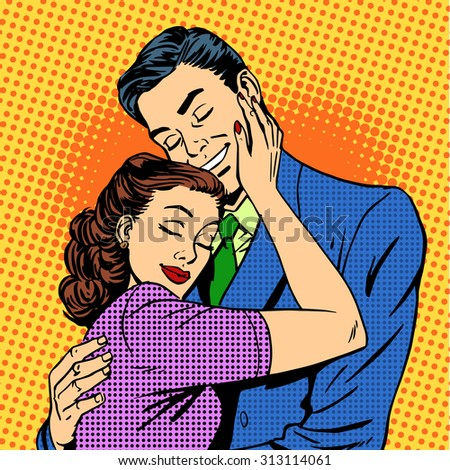 Couple in love hugging husband wife retro pop art love romance - stock vector