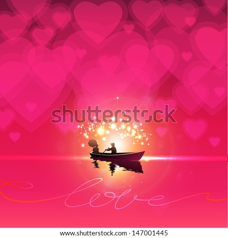 Couple in love in rowing boat on water. Beautiful red, hot pink background with heart shapes in sky. Valentine Day. EPS 10 Vector illustration.  - stock vector