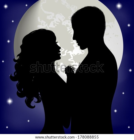 Couple in love on the background of the moon  - stock vector