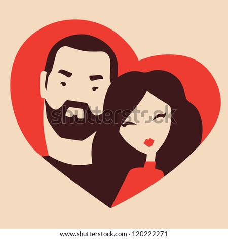 couple in love. portrait in a heart frame vector eps 10 - stock vector