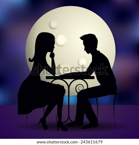 Couple in love sharing romantic dinner on romantic background with full moon. Vector silhouette. St. Valentine's day postcard. - stock vector