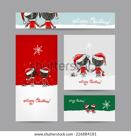 Couple in love together, christmas card for your design - stock vector
