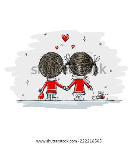 Couple in love together, christmas illustration for your design - stock vector
