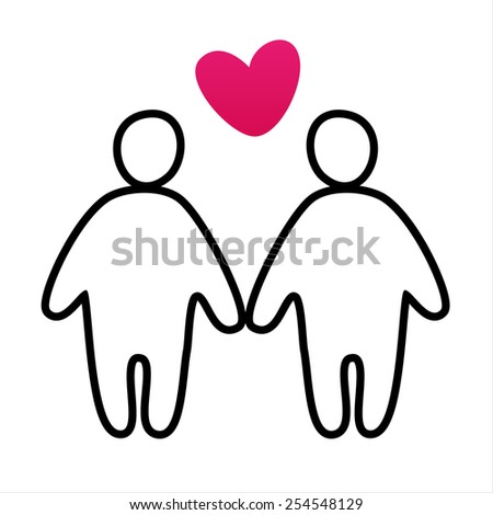 couple in love -  vector icon   - stock vector