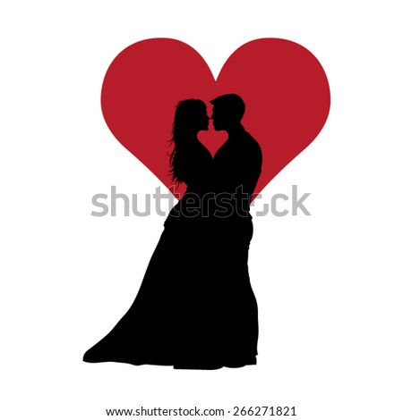 Couple In Love With Red Heart Black Vector Illustration - stock vector