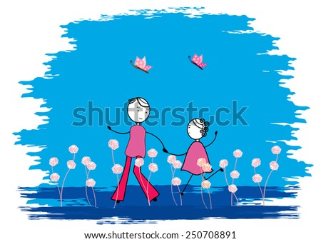 Couple in the garden with beautiful -vector illustration  - stock vector