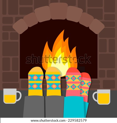 Couple in warm socks relaxing near fireplace on winter evening, vector illustration  - stock vector