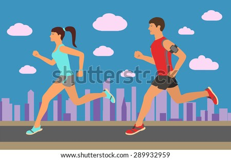Couple jogging outside in the city. Runners training outdoors - stock vector