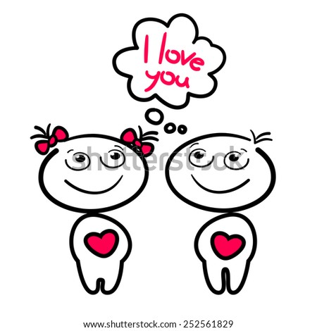 couple kids with hearts - stock vector