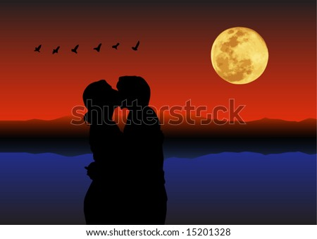 Couple kissing - stock vector