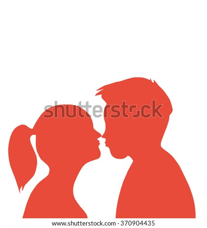 Couple Kissing, pair of lovers  Kissing Couple, Relationship, tender, young people, passion, Loving, Flirting  - stock vector