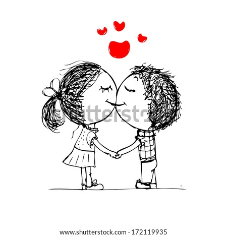 Couple kissing, valentine sketch for your design - stock vector