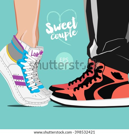 Couple, love, date, kiss, hug, sneakers, young people, vector illustration. - stock vector
