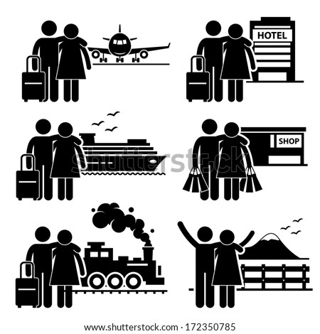 Couple Lover Honeymoon Holiday Vacation Stick Figure Pictogram Icon - stock vector
