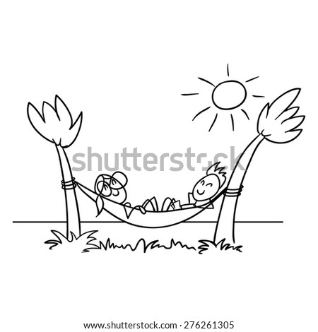 couple lying in a hammock by the sea - stock vector